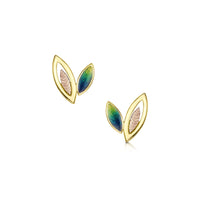 Seasons Spring Enamel Small Stud Earrings in 18ct Yellow & Rose Gold by Sheila Fleet Jewellery