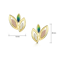 Seasons Spring Enamel 3-leaf Stud Earrings in 18ct Yellow, White & Rose Gold by Sheila Fleet Jewellery