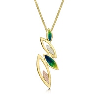 Seasons Spring Enamel Pendant in 18ct Yellow, White & Rose Gold by Sheila Fleet Jewellery