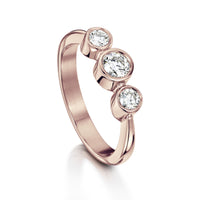 Trilogy Diamond Ring in 9ct Rose Gold by Sheila Fleet Jewellery
