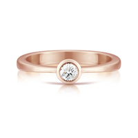 Contemporary 0.15ct Solitaire Diamond Ring in 9ct Rose Gold by Sheila Fleet Jewellery