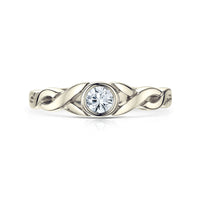 Celtic Twist 0.22ct Diamond Solitaire Ring in 9ct White Gold by Sheila Fleet Jewellery