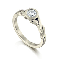 Twist 0.40ct Diamond Solitaire Ring in 9ct White Gold by Sheila Fleet Jewellery