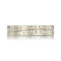 Ogham Ring in 9ct White Gold with Diamonds by Sheila Fleet Jewellery