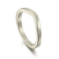 Contemporary Curve Wedding Band in 9ct White Gold (to match DR181) by Sheila Fleet Jewellery