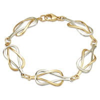 Reef Knot Bracelet in 9ct White and Yellow Gold by Sheila Fleet Jewellery