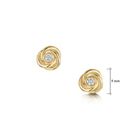 Reef Knot Diamond Stud Earrings in 9ct Yellow Gold by Sheila Fleet Jewellery