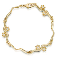 Diamond Daisies 6-flower Bracelet in 9ct Yellow Gold by Sheila Fleet Jewellery