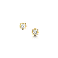 Diamond Solitaire Stud Earrings in 9ct Yellow Gold