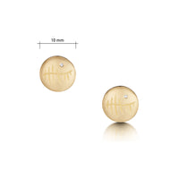 Ogham Small Stud Earrings in 9ct Yellow Gold with Diamonds by Sheila Fleet Jewellery