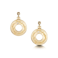 Ogham Drop Earrings in 9ct Yellow Gold with Diamonds by Sheila Fleet Jewellery