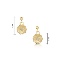 Primula Scotica Diamond Drop Earrings in 9ct Yellow Gold by Sheila Fleet Jewellery