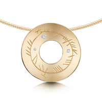Ogham Dress Necklace in 9ct Yellow Gold with Diamonds by Sheila Fleet Jewellery