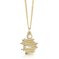 Moonlight Small Pendant Necklace in 9ct Yellow Gold with Opal & Diamond by Sheila Fleet Jewellery