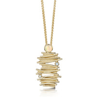 Moonlight Pendant Necklace in 9ct Yellow Gold with Opal & Diamond by Sheila Fleet Jewellery