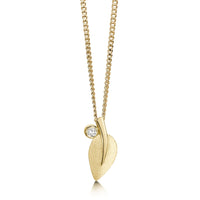 Rowan Single-Leaf Pendant Necklace in 9ct Yellow Gold with Diamond