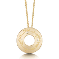 Ogham Pendant Necklace in 9ct Yellow Gold with Diamonds by Sheila Fleet Jewellery