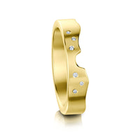 River Ripples Wedding Band in 9ct Yellow Gold with Diamonds by Sheila Fleet Jewellery