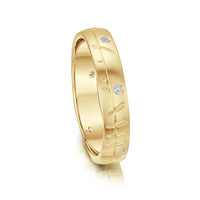Ogham Small Ring in 9ct Yellow Gold with Diamonds by Sheila Fleet Jewellery