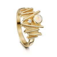Moonlight Ring in 9ct Yellow Gold with Opal & Diamond by Sheila Fleet Jewellery