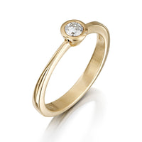 Contemporary 0.15ct Solitaire Diamond Ring in 9ct Yellow Gold by Sheila Fleet Jewellery