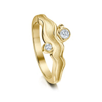 River Ripples Engagement Ring in 9ct Yellow Gold with Diamonds by Sheila Fleet Jewellery