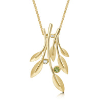 Rowan Six-Leaf Pendant Necklace in 9ct Yellow Gold with Peridot, Pearl & Diamond