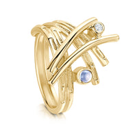 Morning Dew Ring in 9ct Yellow Gold with Moonstone & Diamond by Sheila Fleet Jewellery