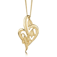 Snowdrop 3-leaf Pendant Necklace in 9ct Yellow Gold