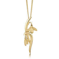 Snowdrop Slender Pendant Necklace in 9ct Yellow Gold