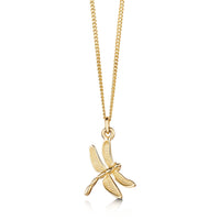Dragonfly Pendant Necklace in 9ct Yellow Gold