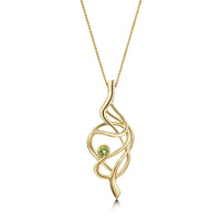 Tidal Dress Pendant in 9ct Yellow Gold with Peridot by Sheila Fleet Jewellery