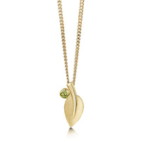 Rowan Single-Leaf Pendant Necklace in 9ct Yellow Gold with Peridot