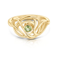 Tidal Ring in 9ct Yellow Gold with a Peridot by Sheila Fleet Jewellery