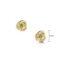 Reef Knot Peridot Stud Earrings in 9ct Yellow Gold by Sheila Fleet Jewellery