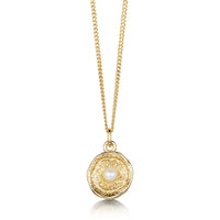 Lunar Pearl Small Pendant Necklace in 9ct Yellow Gold