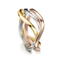 Tidal Ring in 9ct Yellow, White & Rose Gold by Sheila Fleet Jewellery