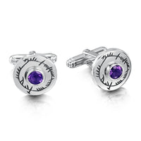 Ogham Cufflinks in Sterling Silver with Amethyst by Sheila Fleet Jewellery