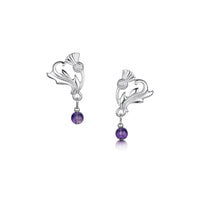 Thistle Stud Silver Earrings with Amethyst by Sheila Fleet Jewellery