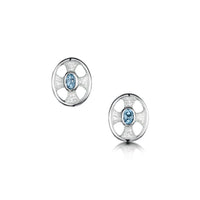 Cross of the Kirk Small Blue Topaz Stud Earrings in Crystal Enamel by Sheila Fleet Jewellery