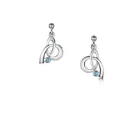 Tidal Small Silver Drop Earrings with Blue Topaz by Sheila Fleet Jewellery
