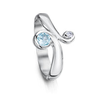 Silver Swirl Ring with Blue Topaz by Sheila Fleet Jewellery