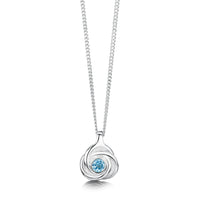 Reef Knot Small Pendant with Blue Topaz by Sheila Fleet Jewellery