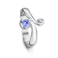 Silver Swirl Ring with Cubic Zirconia by Sheila Fleet Jewellery