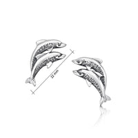 Dolphin Duo Stud Earrings in Sterling Silver