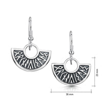 Runic Drop Earrings in Sterling Silver