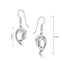Dolphin Curve Small Drop Earrings in Sterling Silver