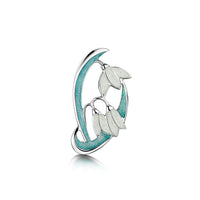 Snowdrop 2-leaf Sterling Silver Brooch in Leaf Enamel by Sheila Fleet Jewellery