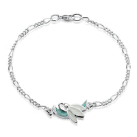 Snowdrop Sterling Silver Bracelet in Leaf Enamel by Sheila Fleet Jewellery