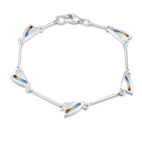 Rainbow Small Enamel Bracelet in Sterling Silver by Sheila Fleet Jewellery